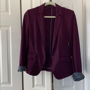 {Maurices} Plum Blazer with Stripe Accents